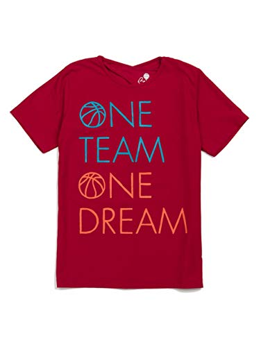 Beech One Team One Dream Girls Tee Shirt for Basketball, Football, Multi-Sports and Sports Parties, Multiple Sizes (7-8 Years) Red