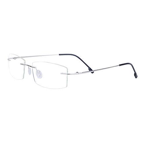 Gafas de Lectura sin Montura +2.0(55-59 años) para Hombres y Mujeres Metal Patillas Lente Transparente + Funda