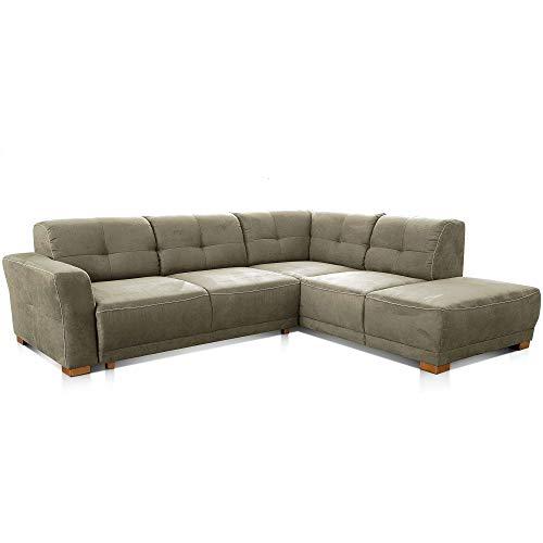 Cavadore Ecksofa Modeo, mit Federkern, Sofa in L-Form im modernen Landhausstil, Holzfüße, 261 x 77 x 214, Mikrofaser-Bezug, grün