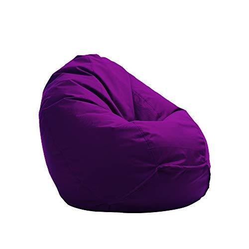 Bruni Sitzsack Classico L in Violett – XL Sitzsack mit Innensack zum Lesen, Abnehmbarer Bezug, lebensmittelechte EPS-Perlen als Bean-Bag-Füllung, lila Sitzsack aus Deutschland