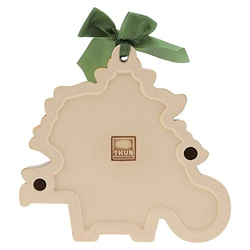 THUN® - Formella Grande da Appendere - Bouquet Fiori in Vaso a Forma di Cariola - Fiocco Verde - Ceramica - I Classici
