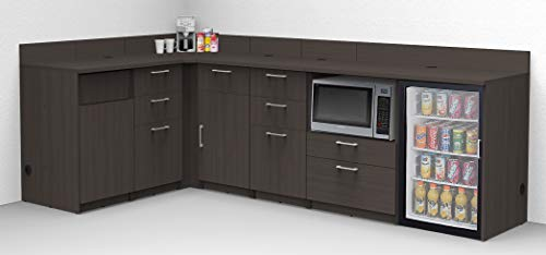 Coffee Kitchen Lunch Break Room Cabinets Model 4997 BREAKTIME 6 Piece Corner Group Color Espresso - Factory Assembled (NOT RTA) Furniture Items ONLY.