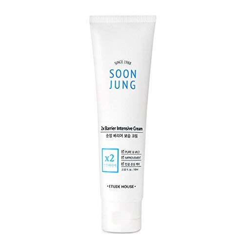 ETUDE HOUSE SoonJung 2x Barrier Intensive Cream 60ml - Hypoallergenic Shea Butter Hydrating Facial Cream for Sensitive Skin, Panthenol and Madecassoside Heals Damaged Skin