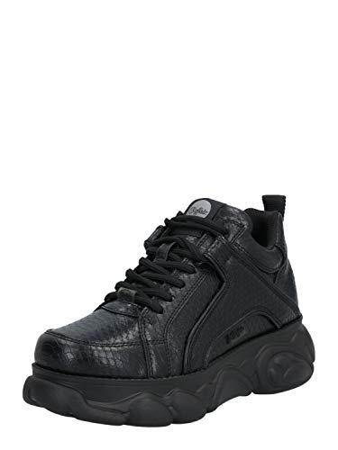 Buffalo Damen Sneaker CLD Corin, Frauen Low Top Sneaker, feminin elegant Women's Women Freizeit Halbschuh Lady,Schwarz(Snake Black),39 EU / 6 UK
