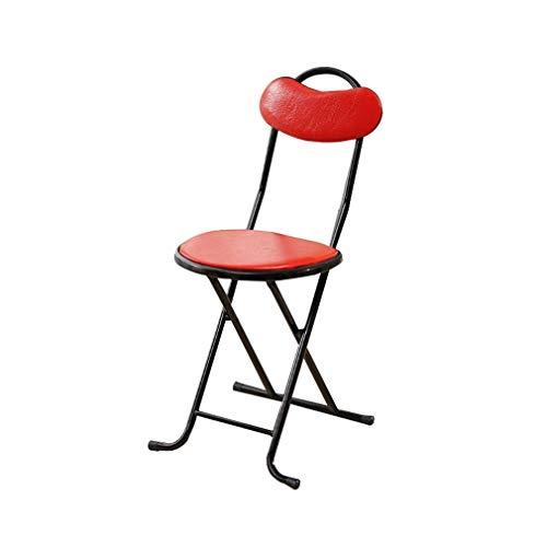 AGLZWY Chaises Pliantes Polyvalent Métal PU Imperméable Portable Gain De Place Simple Salon Adulte Repas Pêche, Noir, Rouge, Marron (Couleur : Rouge, Taille : 28X33X76CM)