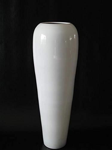 POLONIO - Jarrón de Ceramica Blanco de 95 Centímetros - Jarrones Grandes de Suelo - Jarrones Grandes de Decoracion –...