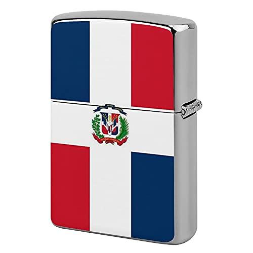 Feuerzeug-Gehäuse, Unisex, Metall, personalisierbar, perfekt für Zigaretten, Zigarren, Kerzen, Flagge der Dominikanischen Republik