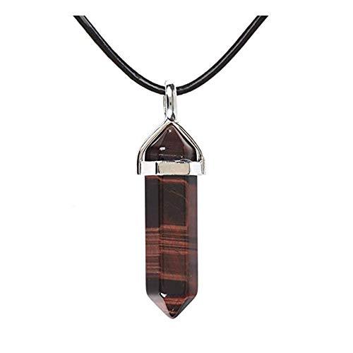 17K Collar de cuero auténtico con colgante de chakra de reiki con forma hexagonal de piedras preciosas de 45,7 cm