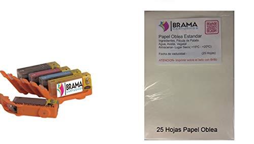 PACK de 25 Hojas de papel de Arroz A4 y 5 X Cartuchos comestibles PGI580 CLI581 XL