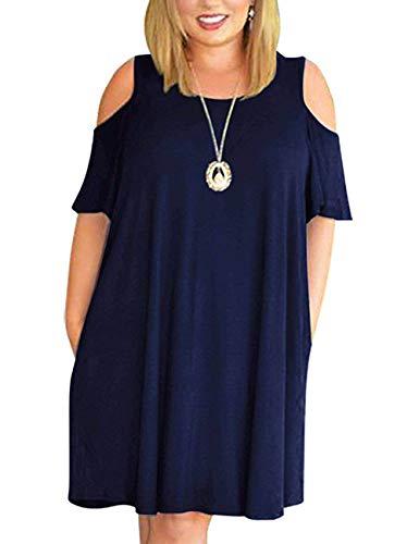 Kancystore Women's Plus Size Dresses Summer Beach Cold Shoulder Dress Pockets Sundress Navy Blue XXL