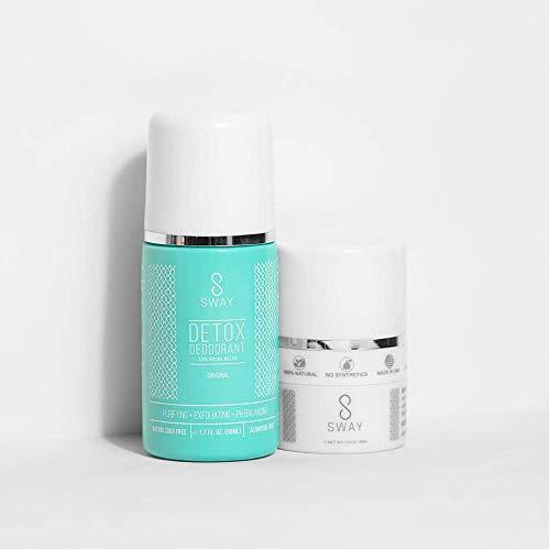 SWAY - Underarm Detox Deodorant Kit : Roll On Deodorant + Dusting Powder | All Natural, Vegan, Balance pH | Aluminum Free, Long-Lasting (Original)