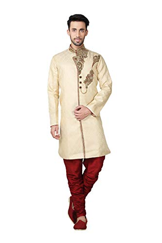 Make a Style Statement Dressed in This Fabulous Brocket Hand Work Fabric Maroon Work Kurta Pajama. All Patterns Are intricately Embroidered Work.