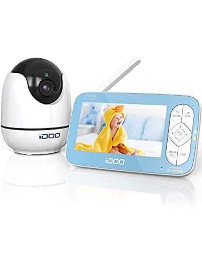 Monitor de vídeo para bebés iDoo. Pantalla de 5' HD a 720p con cámara y sonido. Zoom remoto. Comunicación bidireccional. Visión nocturna. Reproductor de canciones de cuna. Alcance de 270m