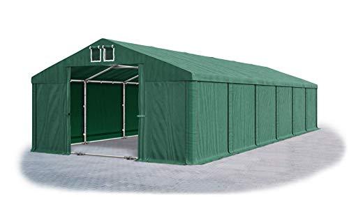 Das Company Tendone Deposito 6x12m Tendone Verde Scuro Impermeabile 560g/m² Tenda da stoccaggio con Telaio sul Fondo e Rinforzi Gazebo Magazzino Tenda Capannone con telone in PVC Summer Plus MSD