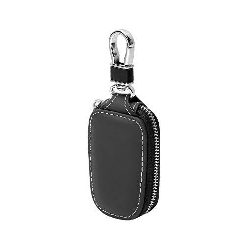 Véritable Cuir Voiture Key Case,Étui Porte-clés Voiture À Distance Pochette en Cuir Véritable pour Hommes Zipper Voiture Key Case (Noir)