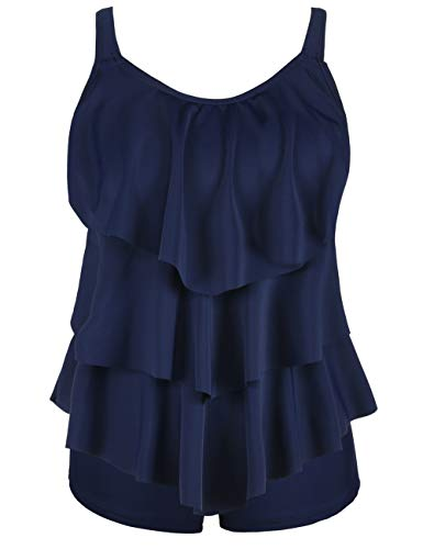 Cadocado Women's Two Piece Bathing Suit Flounce Layered Top with Boyshorts Tankini Swimwear,Navy Blue,US 20