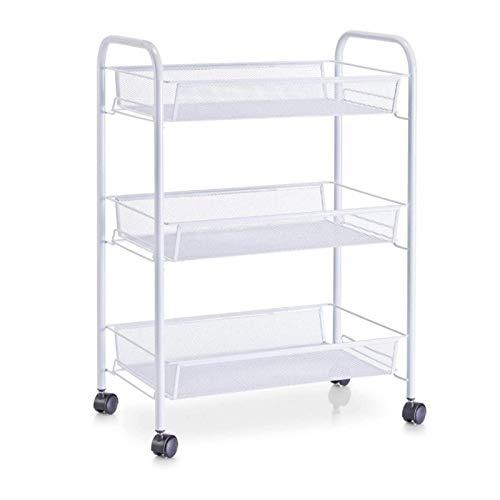 Trolley CXIA Carrito utilitario de metal, con 3 estantes de malla y 2 ruedas con frenos, estante de torre de almacenamiento para el hogar, cocina, baño, estantes de 63 x 27 x 45 cm (color: blanco)