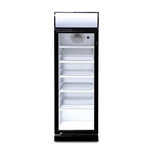 230l Getränkekühlschrank (Flaschenkühlschrank) mit Glastür und Werbedisplay. Abschließbar. Schwarz-weiß. Freistehender Getränkekühlschrank.