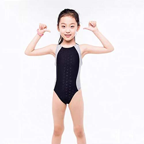 競泳水着 女の子 キッズ 水着 スイムウエア ワンピースタイプ 無地 子供水着 ガールズ水着 女児用 学校用 幼稚園 保育園 スクール 海 プール スイミング 海水浴 練習 競泳 100 110 120 130 (グレー, 推奨身長115-130cm)