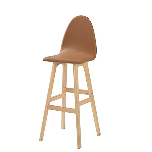 WKLIANGYUANPING Bar Stools Bar Chairs Wooden High Chair Modern Bar Chairs high Stools For Kitchen Cafe House (Color : Orange, Size : 65cm)