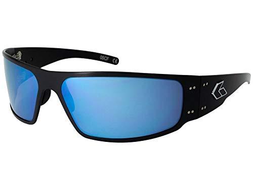 Gatorz Magnum Sonnenbrille, Metallaluminiumrahmen, Militär Tactical Style, polarisiert Smoked/Blau-Spiegel-Objektiv Schwarz