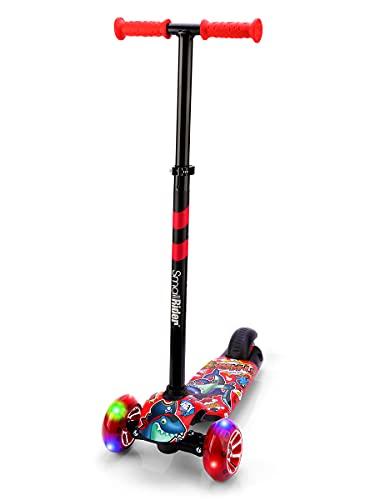 Small Rider Turbo Cartoons 3-Rad-Kick-Scooter, LED-Leuchten mit Breiten PU-Rädern, faltbar, höhenverstellbar, doppelte Scharnierlenkung, Kinder Roller, Jungen und Mädchen 3+ (Rot)