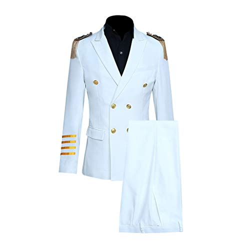 Herren Slim 10-teiliger Anzug Aircraft Commander Jacket Coat & Pant & Shoulder Board Kapitän-Kostüm für Herren mit Sakko Feifish Herren Seemann Faschingskostüm