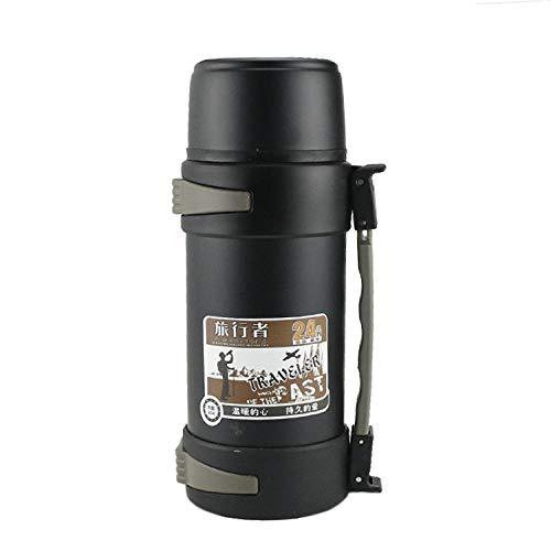 WENSISTAR Lekvrije Thermos, Roestvrijstaal vacuümfles, outdoor grote capaciteit isolatie pot, draagbare reisfles@black_1.5L,Spill Proof Vacuüm Geïsoleerde Fles