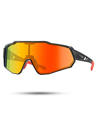 CoolChange Polarized Cycling Sunglasses Full Screen TR90 Unbreakable Lightweight Sports Glasses for Men Women (Orange polarized)