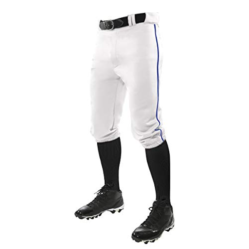 CHAMPRO Triple Crown Knicker Style Baseball Pants with Contrast-Color Braid Piping and Reinforced Sliding Areas, WHITE,ROYAL PIPE, Medium