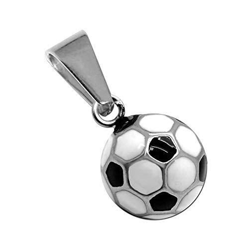 tumundo Ketten-Anhänger Fußball Ball EM WM Fanartikel Sport Football Edelstahl Für Hals-Kette Panzerkette Königskette, Farbe:weiß