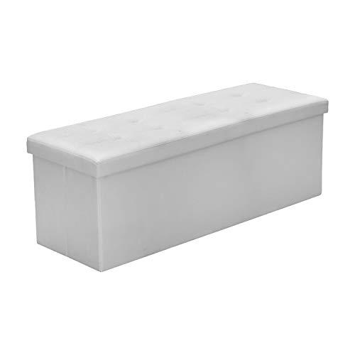 Faltbarer Sitzhocker Weiß PVC-Leder Sitzbank mit Stauraum Sitzbox Kinderzimmer Wohnzimmer Sitzwürfel Kleidung Aufbewahrungsbox belastbar bis 300KG Polsterhocker 110 * 38 * 38cm