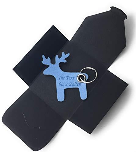 Schlüsselanhänger aus Filz - Elch/Weihnachten - hell-blau/EIS-blau mit Namensgravur - als besonderes Geschenk mit Öse und Schlüsselring - Made-in-Germany