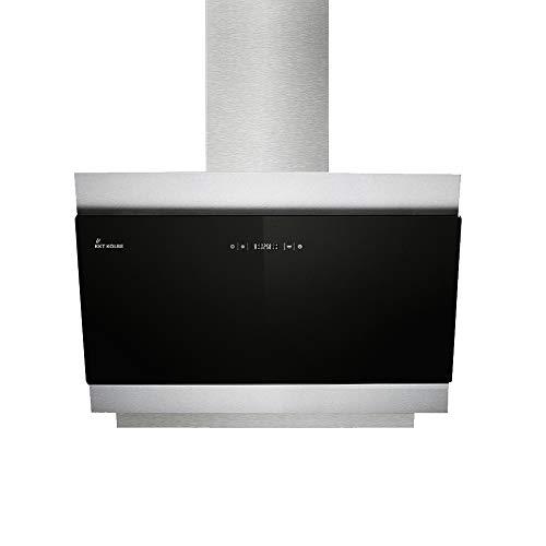 KKT KOLBE Kopffreie Dunstabzugshaube/Wandhaube / 80cm / Edelstahl/Schwarzes Glas/Extra-leise/LED-Beleuchtung / 4 Stufen/Touchsteuerung/Nachlaufautomatik / BICOLORE806S