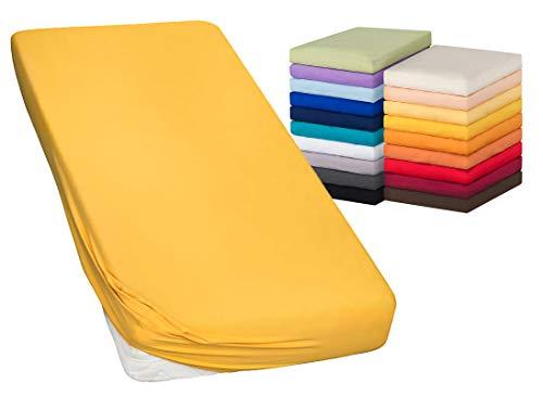 MOON-Luxury Spannbettlaken Spannbetttuch Jersey Stretch 230g/m² für Wasserbetten, Boxspringbetten und herkömmliche Matratzen (mais, 90x200-100x220)