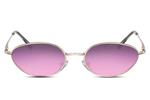 Cheapass Gafas de Sol Pequeñas Ovaladas Montura Metálica Gafas Festival para Mujer