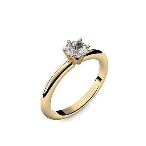 Goldring Bergkristall 585 + inkl. Luxusetui + Bergkristall Ring Gold Bergkristallring Gold (Gelbgold 585) - Precious Amoonic Schmuck Größe 54 (17.2) AM195...