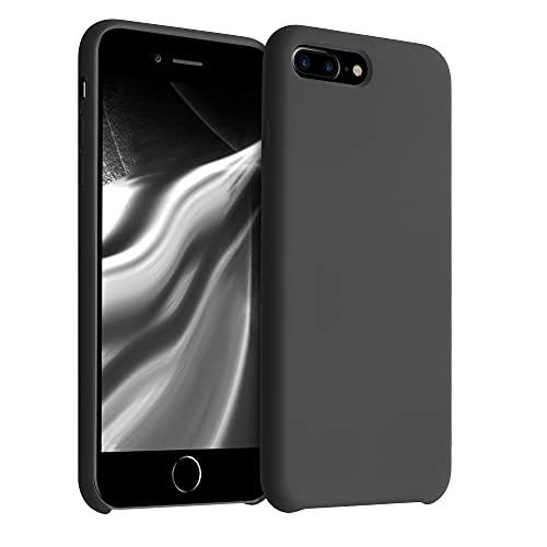 kwmobile Hülle kompatibel mit Apple iPhone 7 Plus / 8 Plus - Hülle Silikon gummiert - Handyhülle - Handy Hülle in Schwarz matt