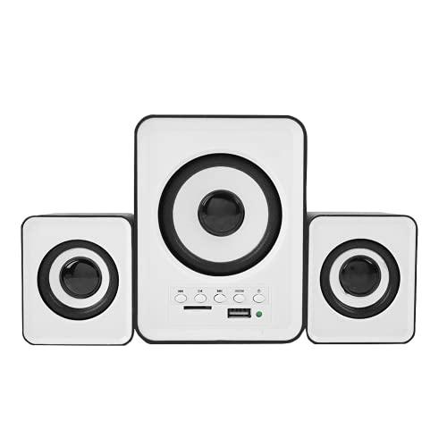 Uxsiya Altavoz de escritorio, altavoz multifuncional incorporado TF tarjeta estéreo mini con cable duradero sin pérdida para soporte TF/FM/U disco (negro y blanco)
