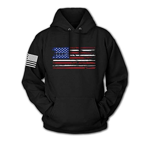 Tactical Pro Supply USA Sweatshirt Hoodie- American Flag Patriotic Jacket Sweater for Men or Women - Black U.s Flag (Large)