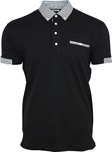 Men's Black Button Down Polo Short with Gingham Collar