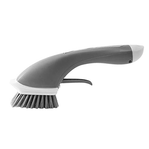 Local Makes A Comeback reinigingsborstel, lange handgreep, antislip, voor de keuken, automatische toevoeging van wasmiddelen, reinigingsborstel, gepoedercoat water, grijs