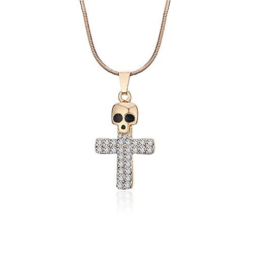 Cruz Calavera Ajustable Collar corto de cristal Regalo Religión Collar Amigo Hermano Fiesta Joyería de moda