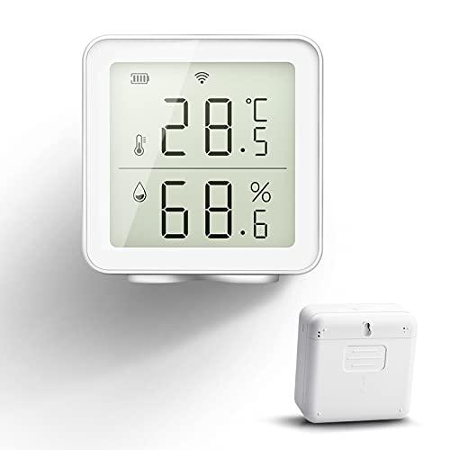 HOLIHOKY Termometro Igrometro Digitale da Interno WiFi Compatibile con Alexa Smart Life Sensore di umidità Wireless Misuratore di umidità Intelligente Termometro WiFi Piscina Casa Cantina per Vini