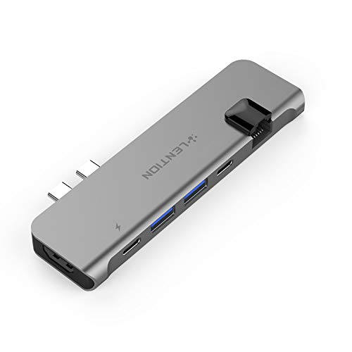 LENTION USB C Portable Hub with 100W Power Delivery, 40Gbps USB C Data, 4K HDMI, 2 USB 3.0 and Gigabit Ethernet Adapter Compatible 2016-2020 MacBook Pro 13/15/16, New Mac Air (CB-CS65, Space Gray)