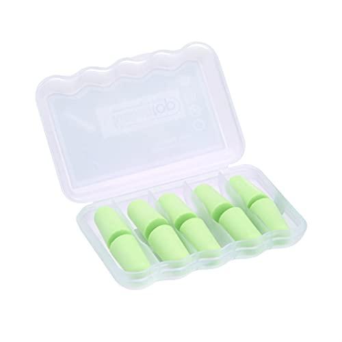 Kinbontop, tappi per le orecchie in spugna morbida, SNR di 35 dB, riduzione del rumore, protezione per l'udito ,colore verde, confezione da 5
