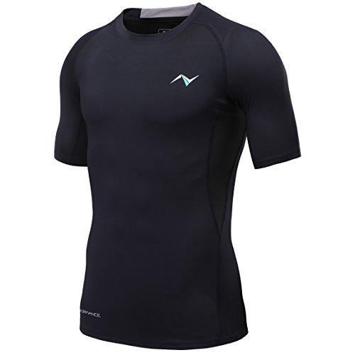 Nooz 4 Way Stretch Herren Cool Tech Quick Dry Compression Short Sleeve T-Shirt - Schwarz - Mittel