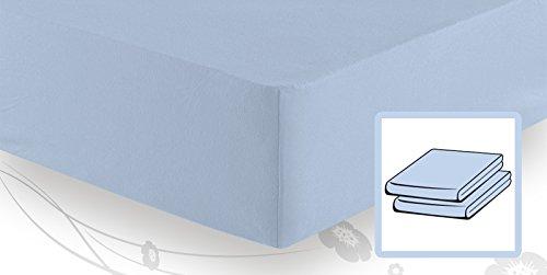 schlafgut Elastic-Jersey Topper Spannbetttuch/Spannbettlaken 90/100x200/220,Aqua