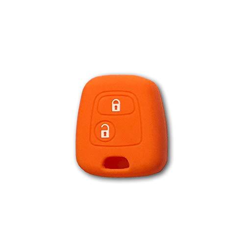 1neiSmartech Cover Guscio Colorato Materiale Silicone Morbido Per Scocca Chiave 2 Tasti Auto Toyota Aygo In 10 Fantastici Colori (Arancio)