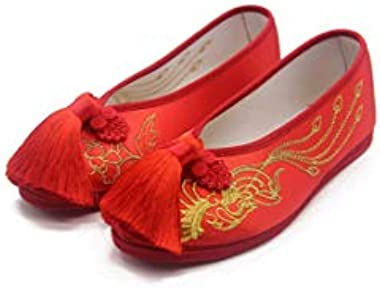 Women Flats Bride Red Shoes Chinese Wedding Satin Embroidered Tassel Breathable Dance Single Ballet Shoes
